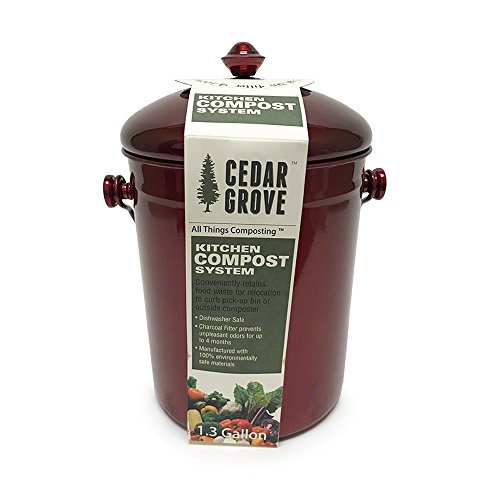 Red Metallic Stainless Steel Kitchen Compost Bin, 1.3 Gallon, with Charcoal Filter Lid – Cedar Grove