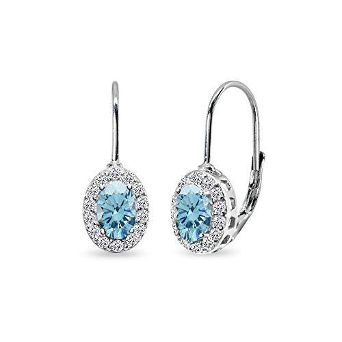 Blue Oval Drop Earrings - Sterling Silver Light Blue 6x4mm Oval Halo Leverback Earrings Made with Swarovski Crystals