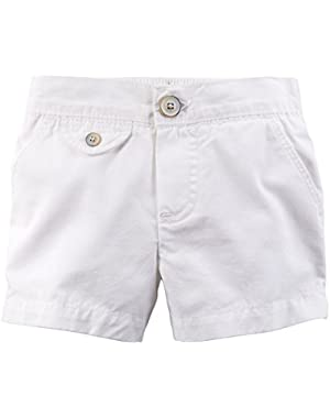 Little Girls' Flap-Pocket Shorts-White