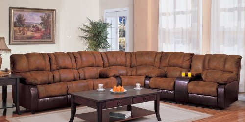 Amazon.com Sectional Recliner Sofa in Brown MicroFabric Dark Brown Vinyl Kitchen u0026 : brown reclining sectional - Sectionals, Sofas & Couches