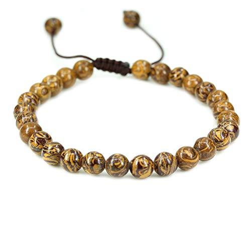 Natural Tiger Skin Jasper Gemstone 6mm Round Beads Adjustable Braided Macrame Tassels Chakra Reiki Bracelets 7-9 inch Unisex