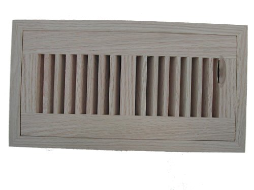 4 X 12 BI-DIRECTIONAL FLUSH MOUNT WOOD REGISTER (Vent Cover) with Damper in Unfinished Southern Yellow Pine