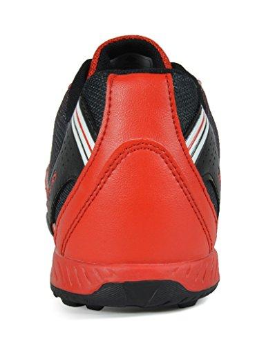 TRAUM-PAAR-Männer 160470-M athletische Fußball-Schuhe Rot Schwarz Silber