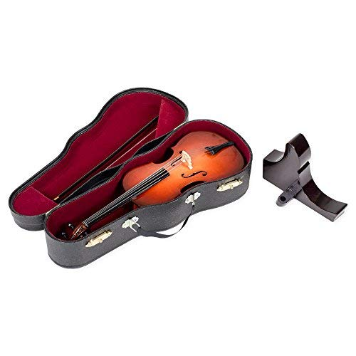 Broadway Gift Cello Miniature Replica Mahogany Tone 6 x 9 Resin Stone Tabletop Figurine ()