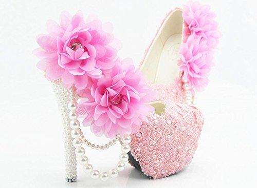 YCMDM Donne Hgh Tacchi rotondo di nozze singoli pattini pizzo rosa cipria fiori damigella d'onore Nightclub Shoes , 5 cm with high reservation , 36