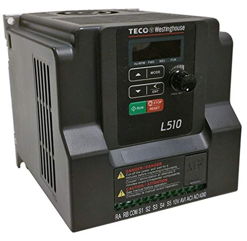 - Teco Variable Frequency Drive, 3HP, 230 Volts 1 Phase Input, 230 Volts 3 Phase Output, L510-203-H1-N, VFD Inverter for AC motor control