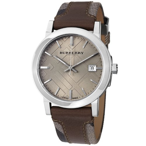 - Burberry Men's 'Large Check' Swiss Quartz Stainless Steel and Leather Casual Watch, Color:Brown (Model: BU9020)