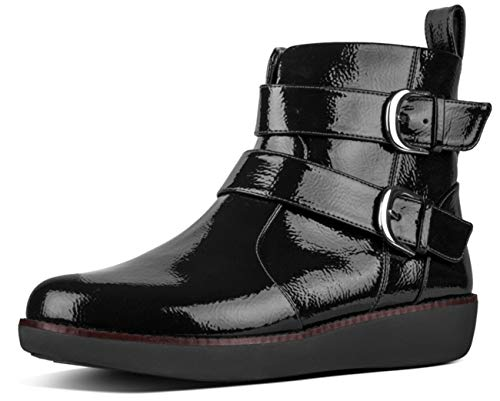 FitFlop Women's Laila Double Buckle Ankle Boots (Crinkle Patent), Black, Size 8