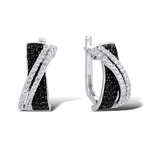 925 Sterling Silver Stud Earrings With Natural Gem Stone Black Spinel White Cubic Ziconia Black Spinel Earrings