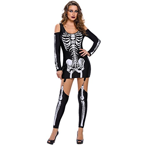 [SextyHome Lady Skeleton Printing Sexy Off-the-shoulder Show Dark Suit Clothes] (Beetle Juice Wig)
