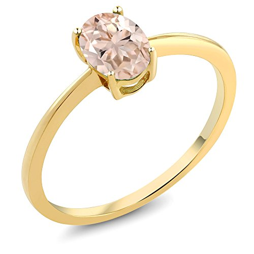 Gem Stone King 0.65 Ct Oval Peach Morganite 10K Yellow Gold Solitaire Ring (Size 9)