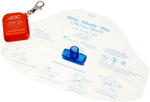 - American Diagnostic 4056 Adsafe Plus Single-use Cpr Face Shield With Keychain and Case Adult, Orange, 2.4 Ounce