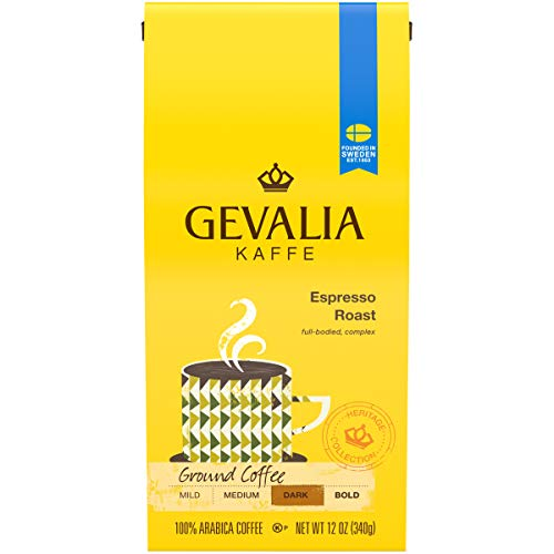 Gevalia Espresso Roast Ground Coffee (12 oz Bags, Pack of 6)