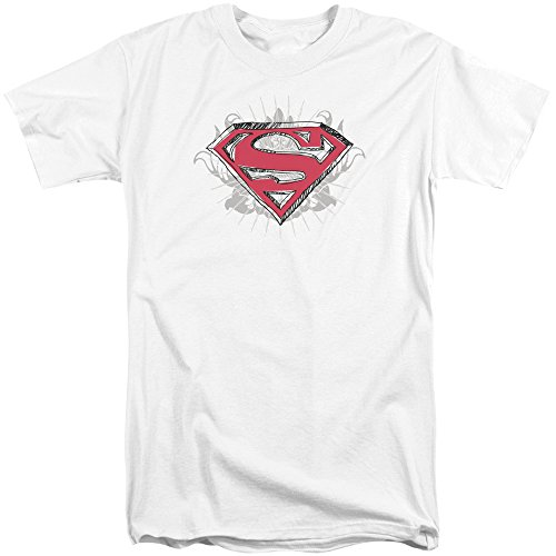 Sons of Gotham Superman Hastily Drawn Shield Adult Tall Fit T-Shirt ()