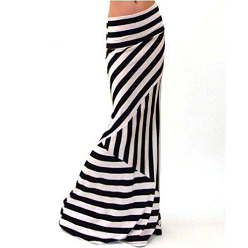 jupe femmes Toamen Asymtrique Taille haute Longue jupe longue extensible  rayures Robe mi-longue (XL, Blanc) Blanc