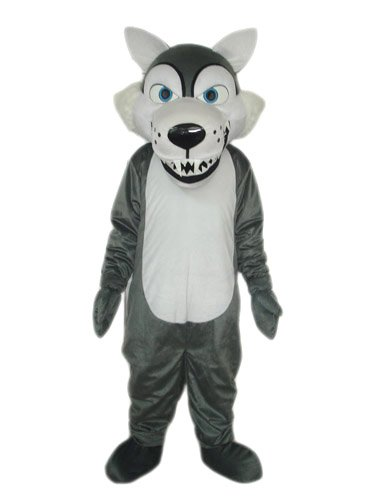 MASCOTSHOWS MASCOTS MAKE LIFE BEAUTIFUL MascotShows Short Plush Grey Wolf Mascot Costume Cartoon Dress With Built-In Cooling Fan For Party, Sale Activities, Celebration and Ceremony, Adult Size -