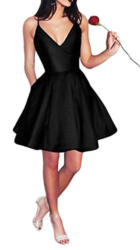 Homecoming Black Dresses - Yangprom Short Spaghetti Straps V-neck A-line Homecoming Dress with Pockets Black 4