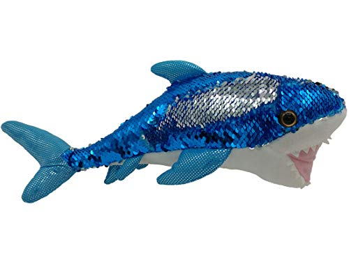 LMC Products Shark Stuffed Animal - Reversible Sequin Shark Plush - 14