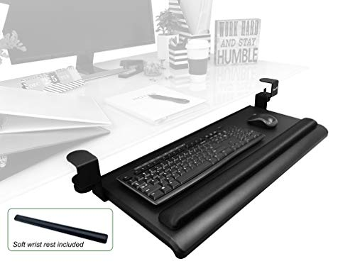 Futur3 (Extra Wrist Rest & Extra Wide) Sliding Under-Desk Keyboard Tray- Easy Installation Clamp On Keyboard and Mouse Drawer- Perfect for Office, Home, School- Ergonomic and Comfortable Design