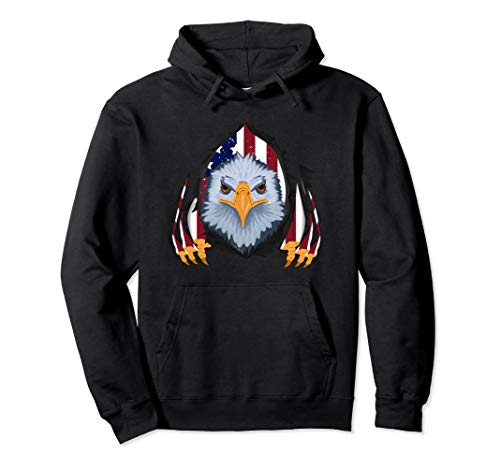 USA Flag Bald Eagle 4th of July Outfit Clothes Men Kids Gift Pullover Hoodie