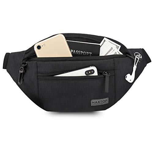 Fanny Pack iSPECLE 5-Zipper Pockets Waist Bag Quick Release Buckle Fanny Pack For Men Women with Earphone Hole Adjustable Strap for Outdoor Travel Hiking Running Grey