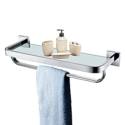 Leyden TM Stainless Steel Bathroom 20-Inch Glass Shelf Wall Mount Cosmetic Holder with Towel Bar, Polished Chrome - Heavy Duty: All metal construction, ensuring quality and longevity, SUS304 Stainless Steel, will not rust, cleans easily with a damp cloth Look: Chrome finish to create a bright, highly reflective, cool grey metallic look Design: Featuring a sleek design and chrome finish, this minimal glass shelf is perfect for tidying up your bathroom while infusing it with lasting style, smooth edges protect your towels from ripping or your hands from injuring, ensure the security and safe - shelves-cabinets, bathroom-fixtures-hardware, bathroom - 41nDkbRU5qL. SS400  -