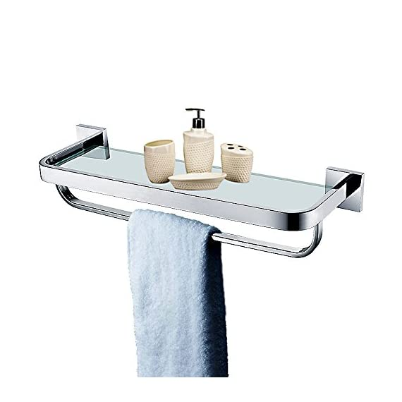 Leyden TM Stainless Steel Bathroom 20-Inch Glass Shelf Wall Mount Cosmetic Holder with Towel Bar, Polished Chrome - Heavy Duty: All metal construction, ensuring quality and longevity, SUS304 Stainless Steel, will not rust, cleans easily with a damp cloth Look: Chrome finish to create a bright, highly reflective, cool grey metallic look Design: Featuring a sleek design and chrome finish, this minimal glass shelf is perfect for tidying up your bathroom while infusing it with lasting style, smooth edges protect your towels from ripping or your hands from injuring, ensure the security and safe - shelves-cabinets, bathroom-fixtures-hardware, bathroom - 41nDkbRU5qL. SS570  -