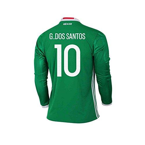 敬礼絶望的なペルーG. DOS SANTOS #10 Mexico Home Long Sleeve Jersey COPA America 2016(Authentic name & number)/サッカーユニフォーム メキシコ ホーム用 長袖 G. ドス?サントス