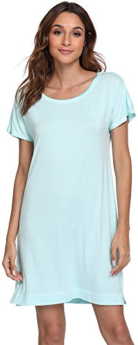 Jersey Nightshirt - GYS Women's Scoop Neck Sleep Shirt Short Sleeve Nightgown, Aqua, X Large