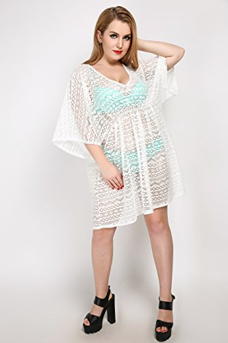 Quibine Damen Sexy Träger Strandkleid Beach Cover-Up Beach Robe Schwimmbad Party Robe Beach Bikini Cover-ups Strand Tunika 7303-Weiß FkIrdSFt