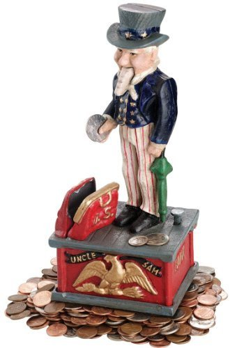 Antique Replica Collectible Uncle Sam Cast Iron Mechanical Bank