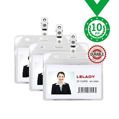 ID Badge Holder Plastic Horizontal ID Card Holder Plastic Name Badge Holder Work Badge Holder Access Card Clip Waterproof Type Resealable Zip (10 Pack)-LELADY
