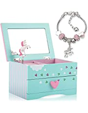 Amitié Lane Unicorn Jewellery Box For Girls - Two Unicorn Gifts for Girls including Green and Pink Unicorn Music Box and Unicorn Charm Bracelet