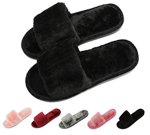 Women's Fur Fluffy Furry Fuzzy Slipper Flip Flop Open Toe Plush Cozy House Sandal Soft Winter Flat Anti-Slip Spa Indoor Outdoor Slip on Slide (02/Black, 6-7 M US)