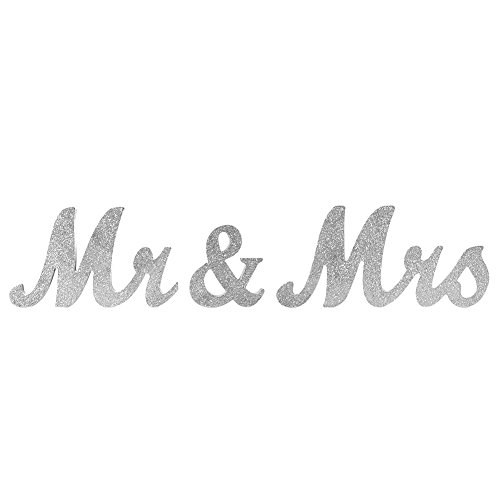 Ocamo Vintage Style Silver Glitter Mr & Mrs Wooden Letters for Wedding Decoration DIY Decoration by Ocamo