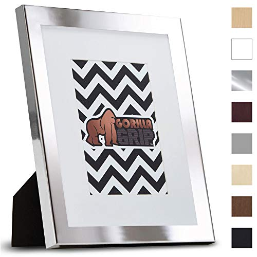 Gorilla Grip Original Picture Frame (8X 10 with Removable Mat) Durable Metallic Finish Photo Frames, Pre-Installed Wall Mounting Hardware/Tabletop Display, Pictures Hang Horizontal, Vertical (Silver)