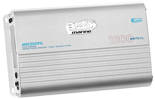(BOSS Audio MR1200PA Marine Grade 1200 Watt, 4 Channel, 2/4 Ohm Stable Class A/B, Full Range, Bridgeable, MOSFET Power Supply Amplifier with Remote Subwoofer Control Featuring Public Adress (PA) System)