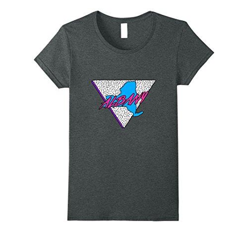 Albany Ny Costumes (Womens Neon 80s NY Albany Retro New York T-Shirt Medium Dark Heather)