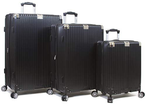 Dejuno Moda Scratch Resistant 3-Piece Hardside Spinner Luggage Set-Black ()