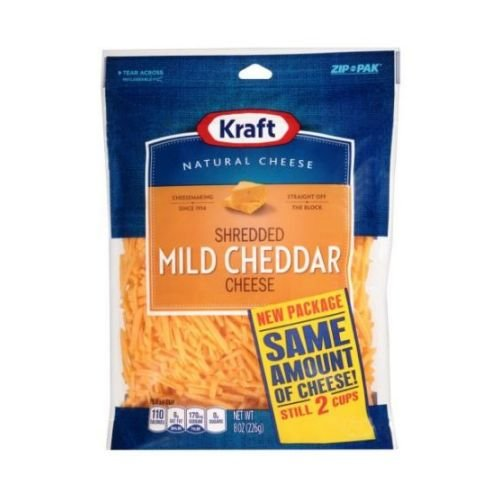 Kraft Zip Pak Shredded Mild Cheddar Cheese, 8 Ounce - 12 per case.
