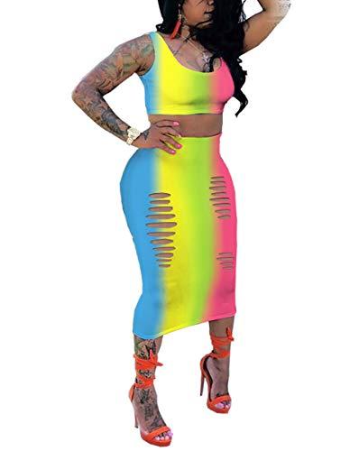 (Womens Sexy Two Piece Outfit - Strappy Rainbow Stripe Print Tanks + Cut Out Bodycon Dress Skirts Set Yellow XXL)