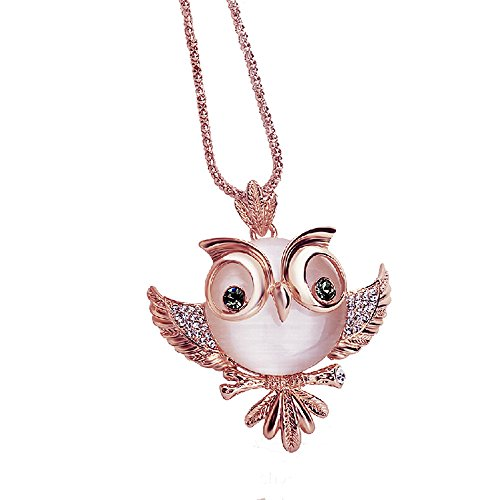 Gbell Girls Cute Crystal Owl Long Necklace - Fashion Retro Antique Alloy with Rhinestone Swaeater Necklaces Neck Chain Pendant Jewelry Gifts for Lady Women,70cm (Rose Gold)