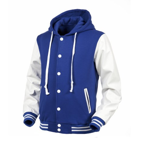 Angel Cola Blue &amp White Hoodie Varsity Cotton &amp Synthetic Leather