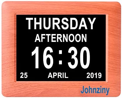Johnziny 7 inch Digital Calendar Day Clock 8 Alarm Options Extra Large Day Date Dementia Clocks for Memory Loss Vision Impaired Alzheimer Seniors Elderly Alarm Clock
