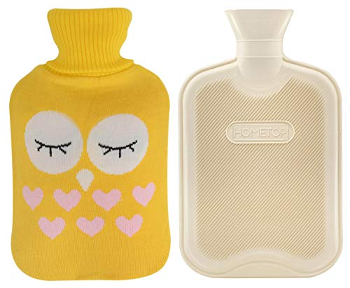Premium Classic Rubber Hot Water Bottle and Cute Animal Embroidery Knit Cover (2L, Beige/Yellow with Bird)