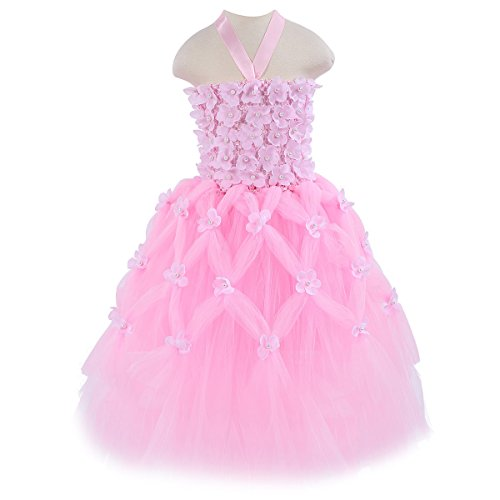 [HBBMagic Girl's Flower Wedding Pageant Ball Gown Tutu Tulle Ballet Dance Party Dress (7/8, Pink)] (Little Girl Pageant Costumes)