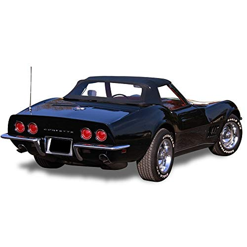 (AutoBerry Fits: Chevrolet Corvette Convertible Soft Top with Plastic Window Vinyl (1968-1975) Black)