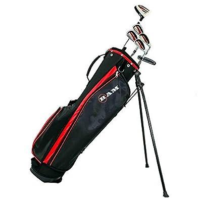 RAM Golf SGS Mens Left Hand Golf Clubs Starter Set with Stand Bag - Steel Shafts