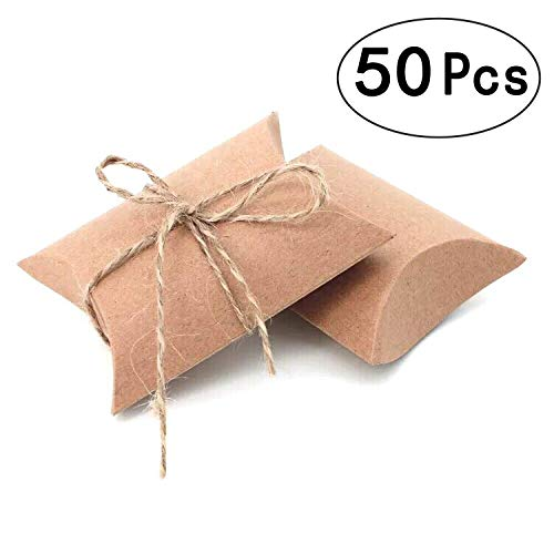 Vintage Kraft Paper Pillow Candy Box Thank You Treat Box Kit Rustic Gift Boxes with Twine for Wedding Favors Baby Shower Birthday Party Supplies, 50pc