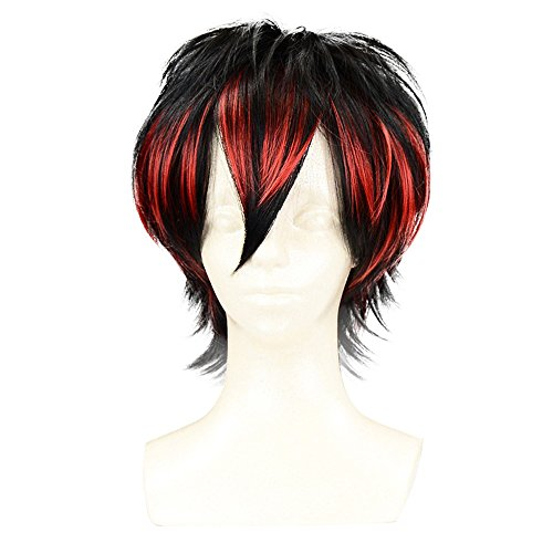 PINKISS Fashion Colorful Harajuku Style Cosplay Wig with Free Wig Cap (SC011 / Black Red) (Red And Black Wigs)